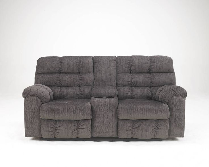 Acieona Contemporary Slate Fabric Double Recliner Loveseat W/Console