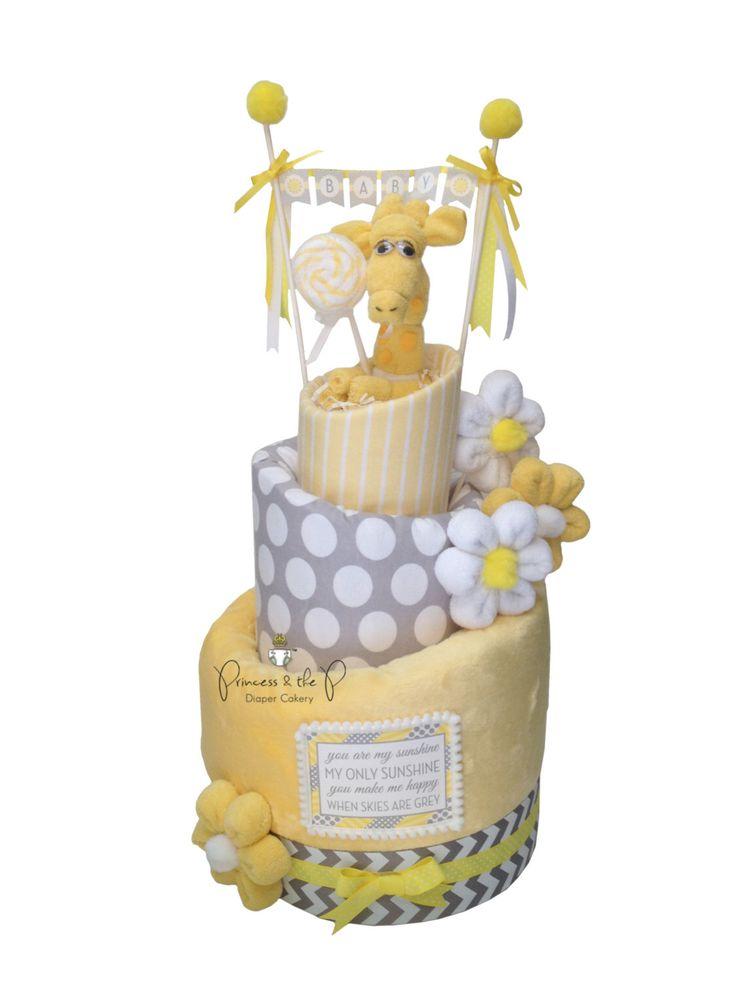 You are my sunshine baby Shower, Topsy Turvy Diaper Cake, Diaper Cake, Yellow & Gray Baby Shower, Chevron, Giraffe, daisy, centerpiece by PrincessAndThePbaby on Etsy https://www.etsy.com/listing/195168130/you-are-my-sunshine-baby-shower-topsy