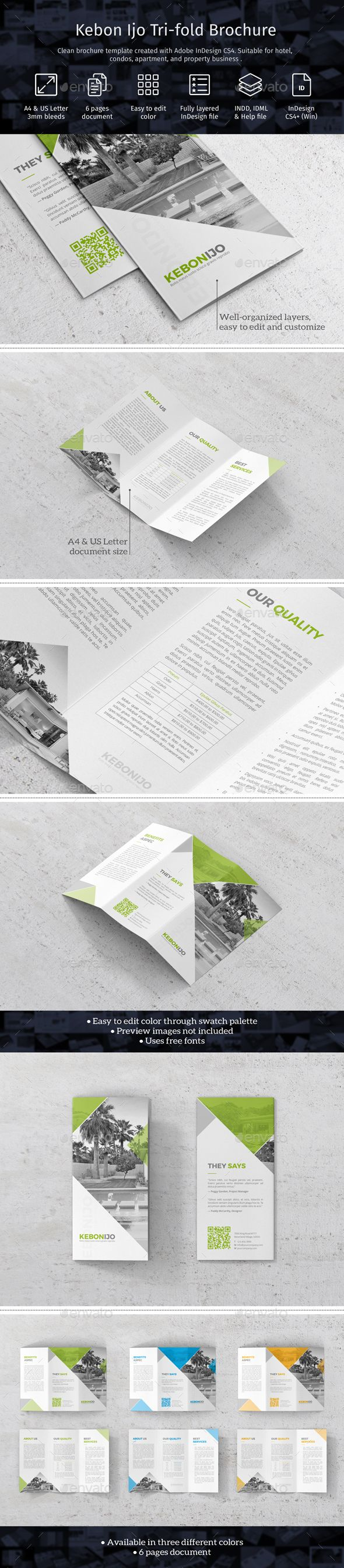 Kebon Ijo Trifold Template by fisihsani Clean brochure template created with Adobe InDesign. Suitable for hotel, condos, apartment, and property business. Template availa