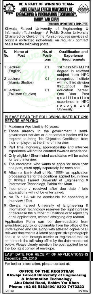 Jobs+Dec+2016+in+Khawaja+Fareed+University+of+Engineering+Information++    Daily+Newspaper+Jobs+2016+|+Jobs+in+Pakistan+|+Government+Jobs+|++Saudi+Arabia+Jobs+|+NTS+Jobs  + ++Vacancy+/+Positions+of+this+Advertisement+  +Jobs+Dec+2016