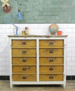 Vintage Industrial Wooden Bank of Drawers | lovelitter.co.uk | Warehouse Home Design Magazine