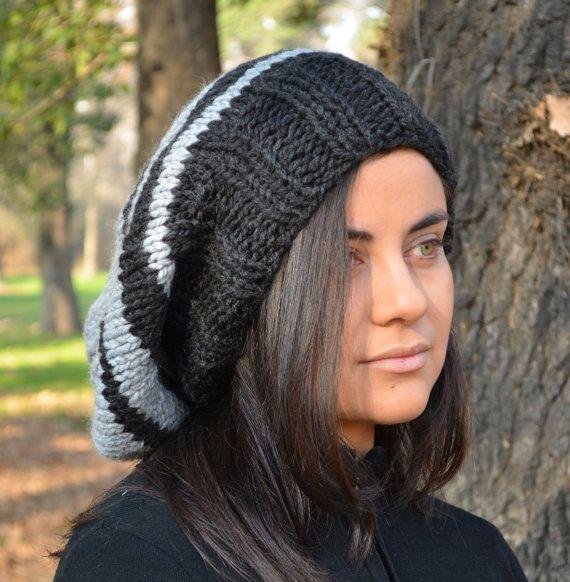 Slouchy beanie hat BLACK & PEARL GREY womens teen by BeanieVille