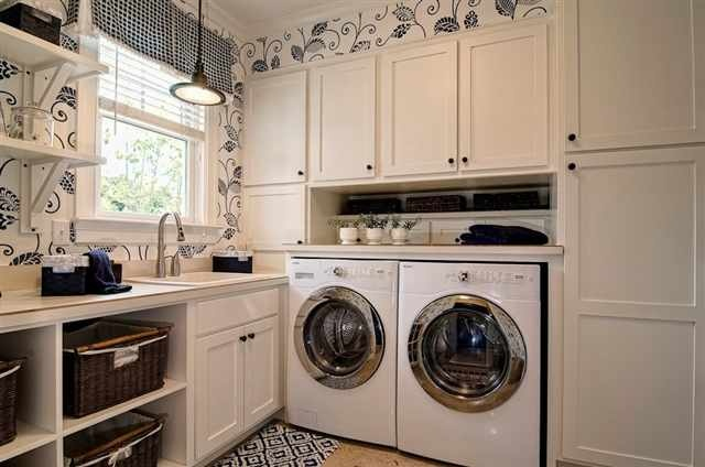 Beautiful Laundry Room Machines Jut Out Towards Window But Cabinets