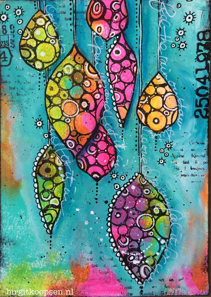 Colorful Leafs - Art Journal Birgit Koopsen/Carabelle Studio... Tutorial on her blog...