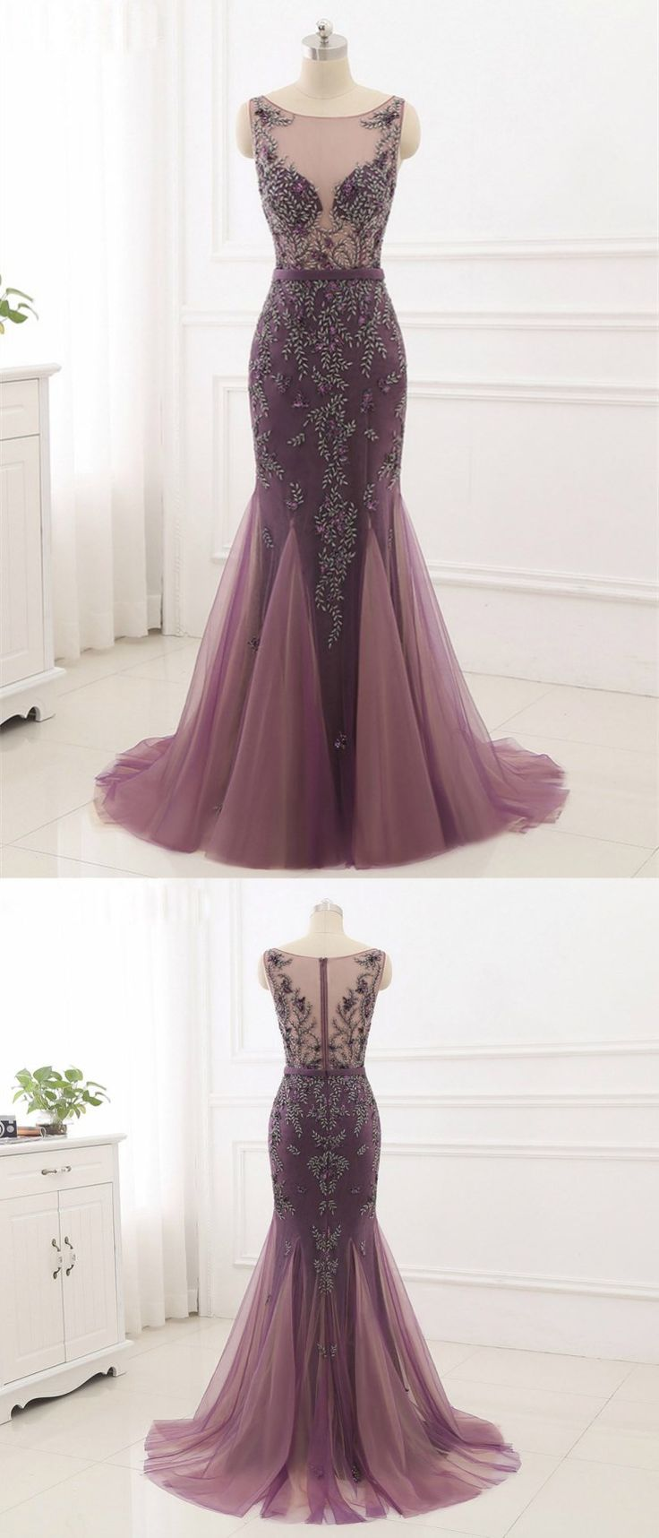 Mermaid Scoop-Neck Sweep Train Tulle Dusty Rose Prom Dresses With Rhine Stones ASD27097 #promdress #mermaid #dustyrose #vintage