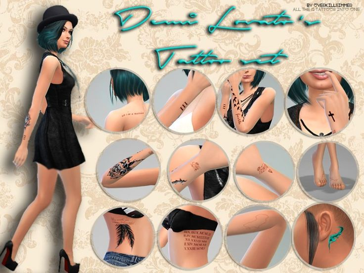 All of Demi's tattoos into one.  Found in TSR Category 'Sims 4 Mods'