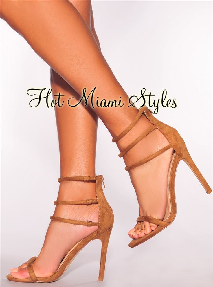 Camel Faux Suede Open Toe Strappy High Heel Sandals