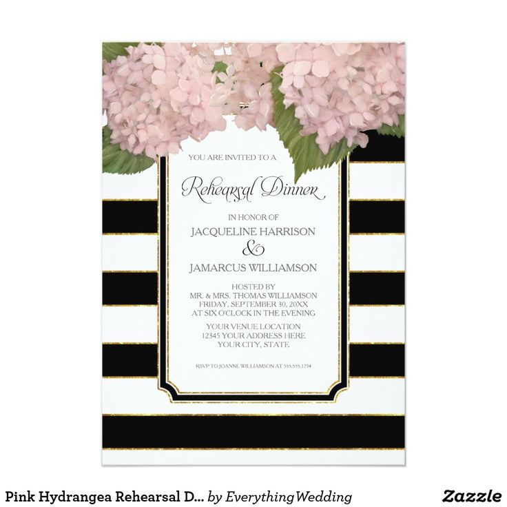 Pink Hydrangea Rehearsal Dinner Bold Stripe Modern Card Are you a lover of classic, timeless elegance? Do you want to look back at your wedding in 50 years and still be as in love with your stationery as today? We had you in mind when we designed this vintage blush pink hydrangea artwork and paired it with a modern wide striped background. Classy Black and White never goes out of style and provides a modern punch set off with the delicate, gorgeous hand painted floral elements. An Art Deco…