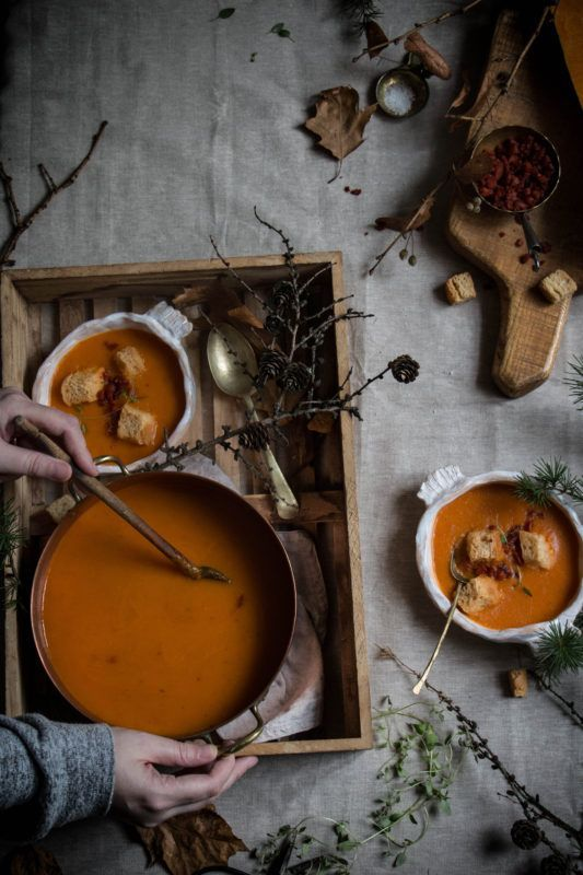 Butternut squash red pepper chorizo and sundried tomato soup