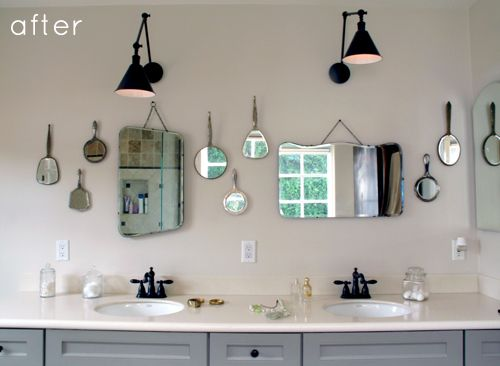 hand mirrors into wall mirrors by my sister @Call Me Faith on D*S today!: Vintage Mirror, Mirror Mirror, Bathroom Makeovers, Wall Mirror, Cute Ideas, Bathroom Wall, Bathroom Renovation, Bathroom Mirror, Bathroom Ideas
