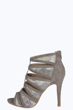 Kendra Faux Snake Insert Cage Heels at boohoo.com