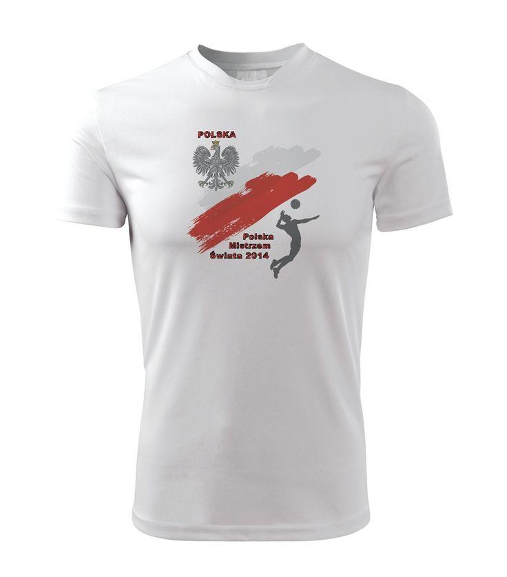 I przez 4 lata Polska będzie Mistrzem Świata!  Nowoczesna koszulka z miękkiego, gładkiego materiału z motywem na Mistrzostw Świata w siatkówce mężczyzn w 2014 roku! Nadaje się do uprawiania sportu i codziennego noszenia.