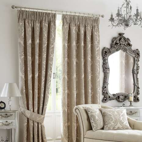 Natural Versailles Pencil Pleat Curtains