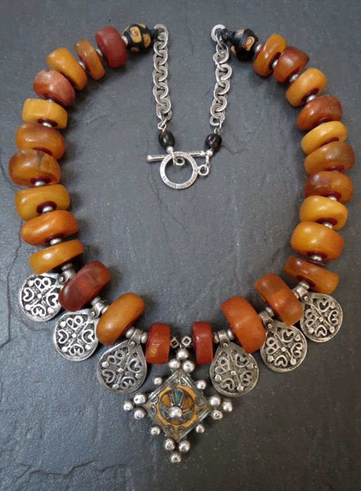 Berber Necklace of Amber & Silver