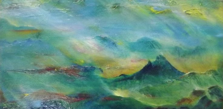 Mountains and Mist by Chris Keenan Artisthttps://www.facebook.com/chris.keenan.370   Painting is more vivid and clear than photo.
