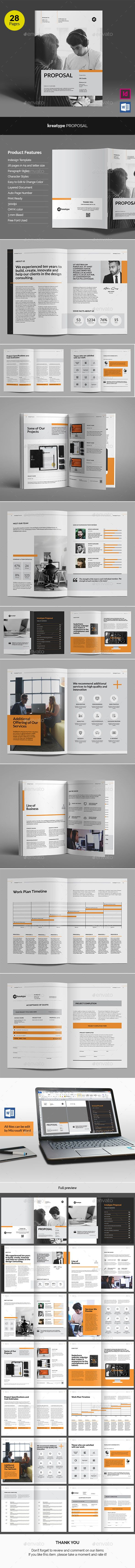 Kreatype Business Proposal Template 	InDesign INDD - 28 Pages in A4 and Letter Size
