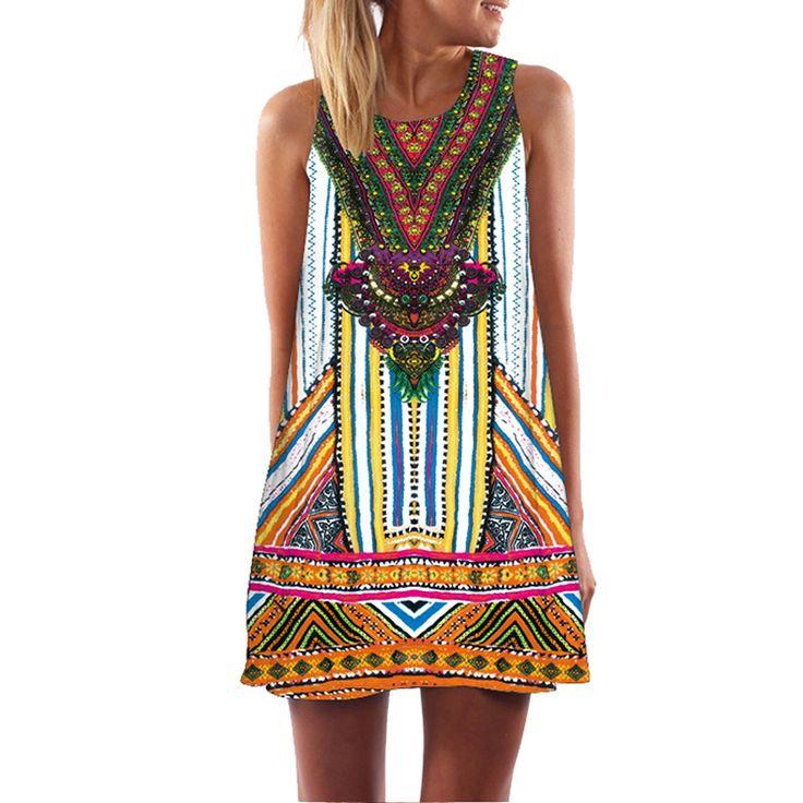 Aliexpress.com: Comprar 2016 Mujeres se Visten de Impresión 3D de La Vendimia Hippie Beach Summer Vestido Dashiki Sueltos Mujeres de Talla grande Ropa de vestido japonés fiable proveedores en Hofan