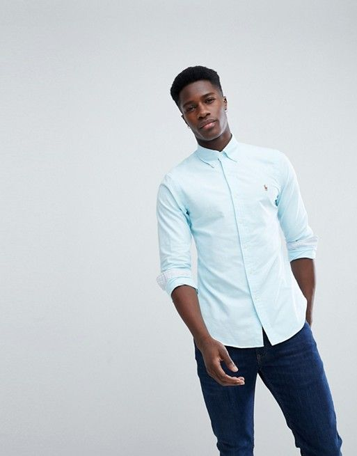 231563848738 Polo Ralph Lauren Slim Fit Button Down Collar Oxford Shirt With Multi Polo  Player Logo in Light Blue