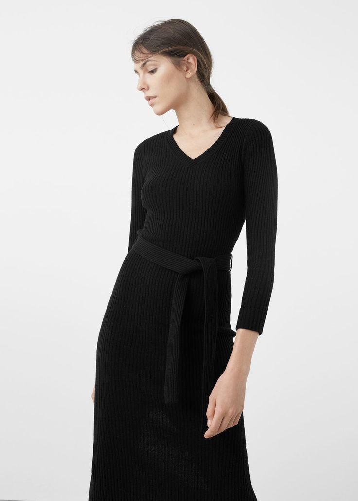 Lastikli midi elbise | MANGO