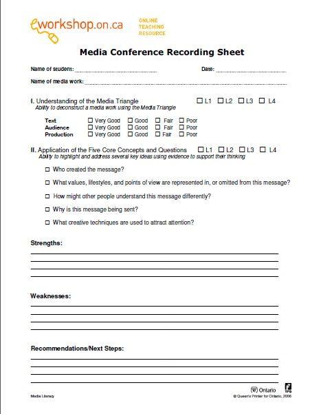 e-Workshops Media Conference Recording Sheet