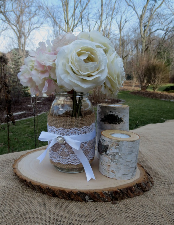 Mason Jar with Birch Candles and Wood Slice by FloralAccents