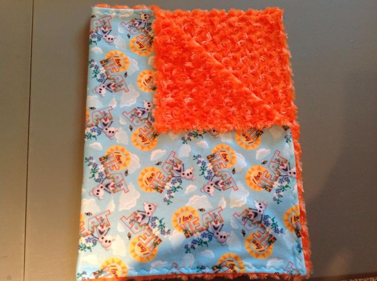 """Disney Frozen Olaf """"I love heat"""" with orange rose small blanket for travel or in the stroller."""