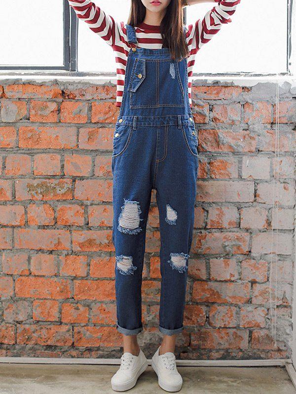 Loose Fitting Hole Design Ninth Denim Suspender Pants - BLUE L