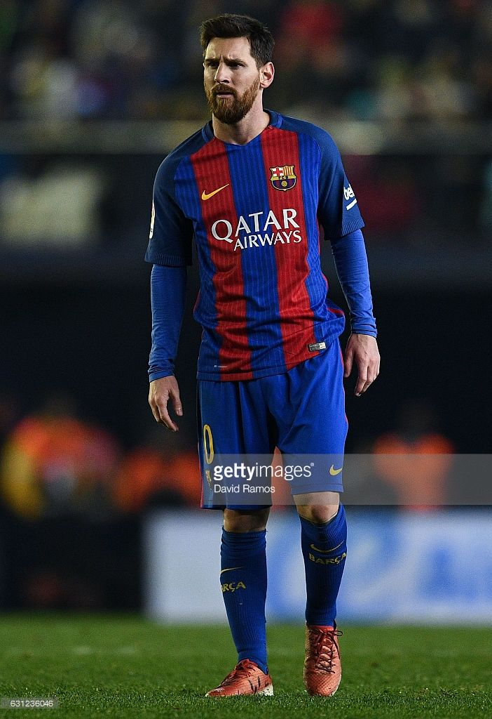 Lionel Messi of FC Barcelona looks on during the La Liga match between Villarreal CF and FC Barcelona at Estadio de la Ceramica stadium on January 8, 2017 in Villarreal, Spain.