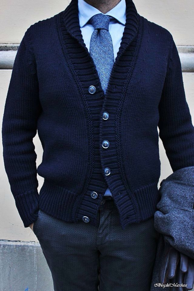 Navy Blue Cardigan | Men's Outfit for the Office | Smart Casual | Men's Fashion | Menswear | Moda Masculina Shop at designerclothingfans.com