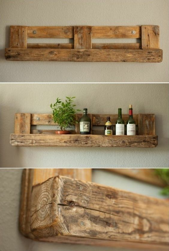 shelf in wooden pallet, green plant, bottle of win…