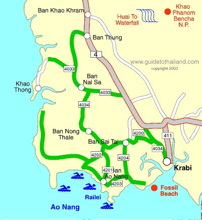 Map of Krabi town, Ao Nang and Railey beach. | KRABI Tours ...