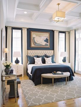 Bedroom - beautiful white/cream and blue decor - coffered ceiling - French doors   Steven Ford Interiors