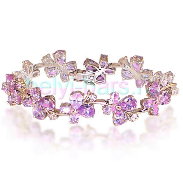 Браслет с кристаллами розовый топаз Цветы белое золото