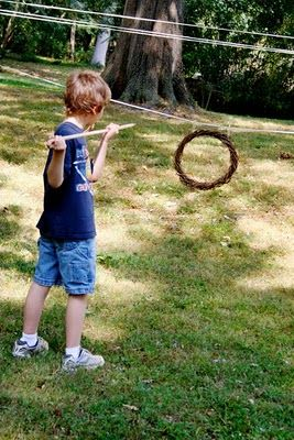 Can you throw your spear through the hoop?  Games are often played as part of a Michaelmas Day.
