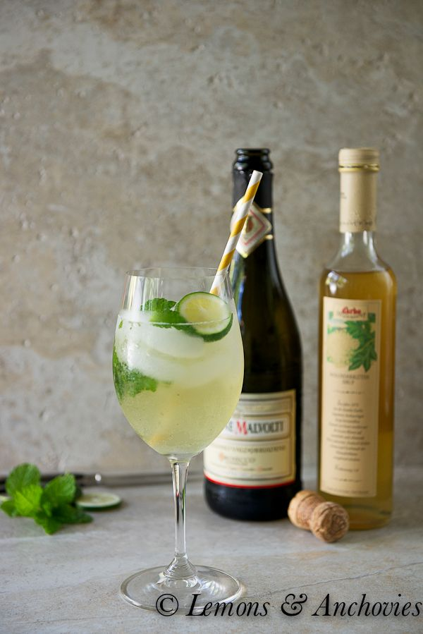 Hugo Cocktail...(Prosecco, lime juice, mint, and elderflower syrup) originated in the South Tyrol in northern Italy and is a popular summer cocktail in Germany.