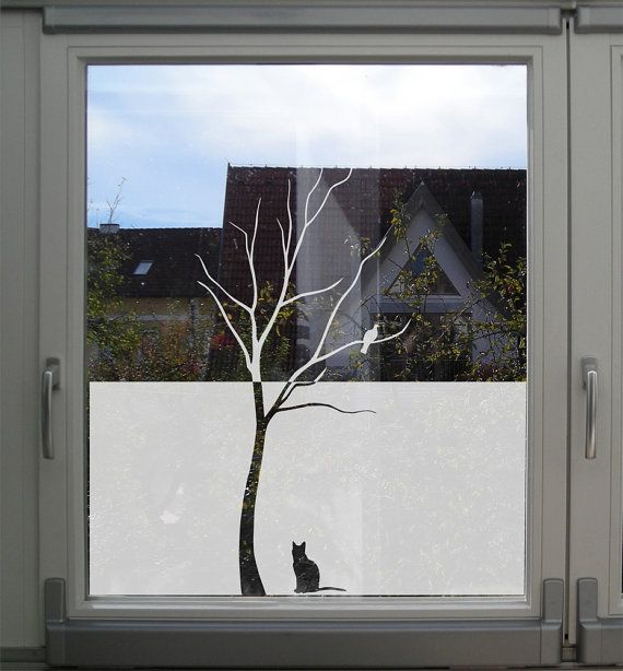 Tree Glass decal for windows, tree with a bird and a cat, Etched Glass Decal, Frosted Glass Decal, Decorative Privacy Film with a tree & cat