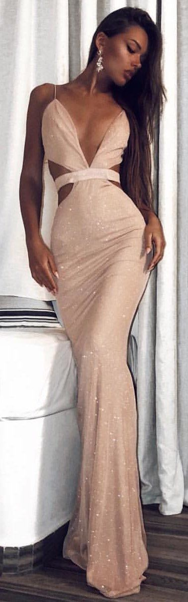 #winter #outfits beige strapless maxi dress