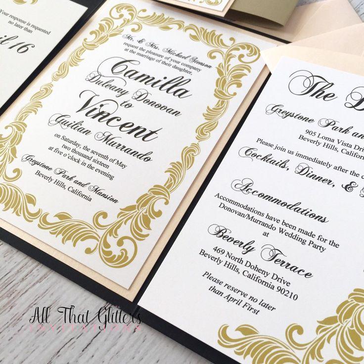 Formal Wedding Invitation Suite with Insert cards | Gold and Black Wedding Invitation Set | Pocketfolder Wedding Invitation | Camilla