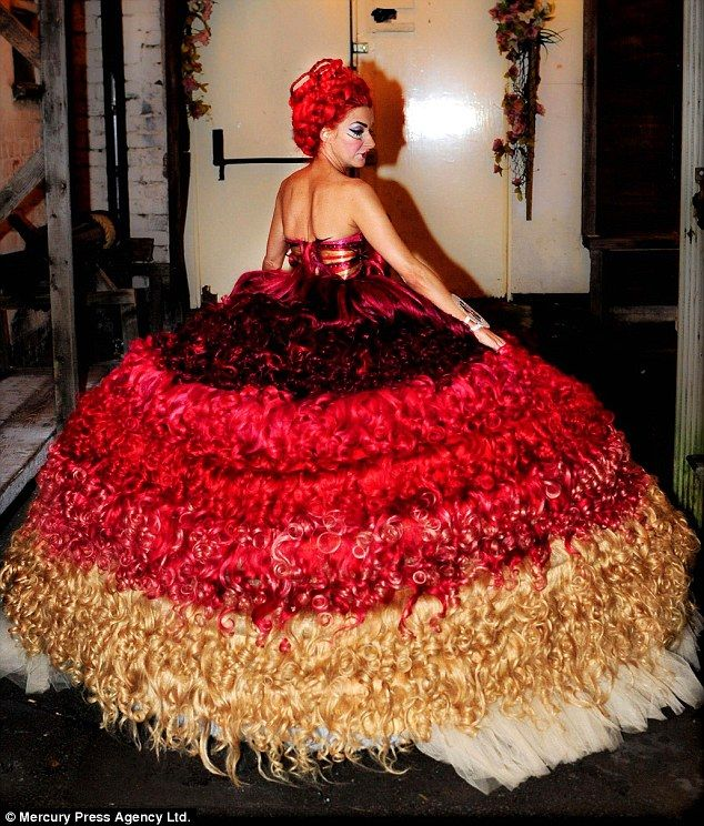 The Search for the Ugliest Wedding Dress Ever Created - This is made by the BFGW dress creator Thelma Madine. It's made of hair.