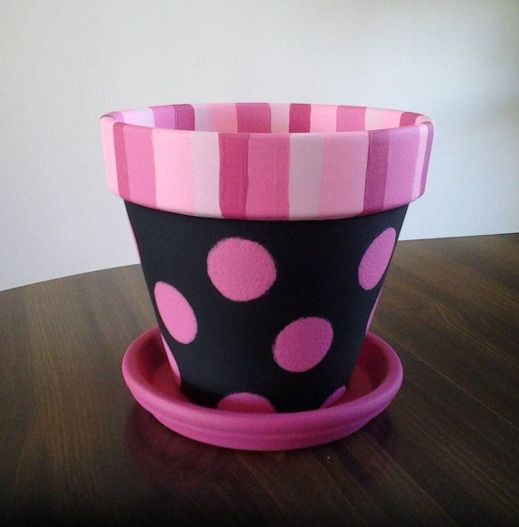 Pink Polka Dots on Black Painted Clay Pot with Saucer via Etsy