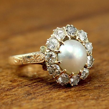 Named after me!! Alivia Vintage Pearl and Diamond Engagement Ring, circa 1950 | Vintage Engagement Rings | Turtle Love Co. Jewelry