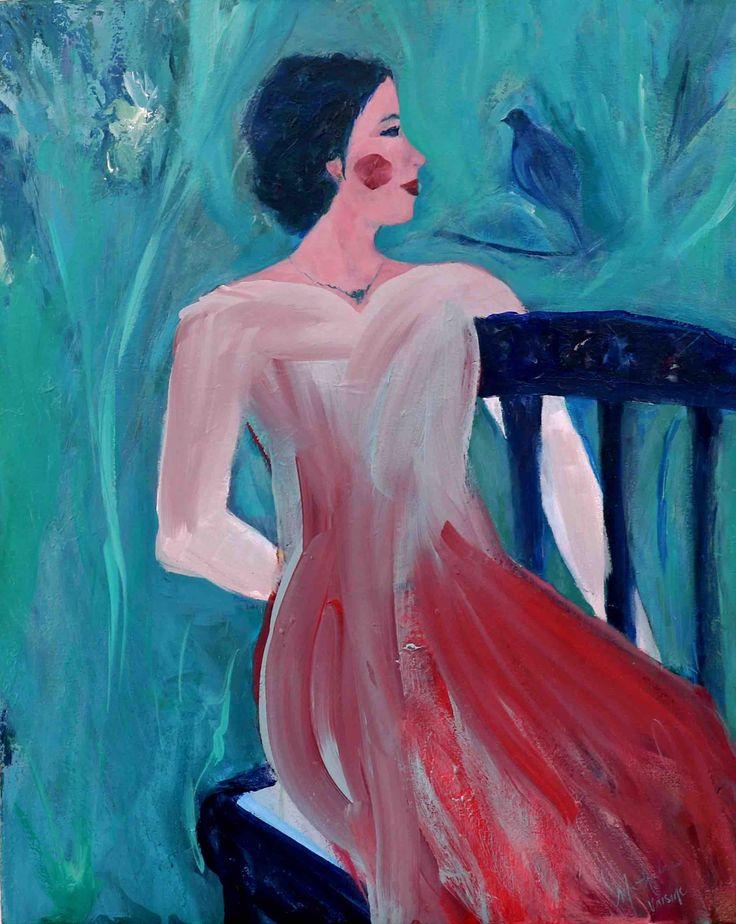 "Nathalie Voisine. Complicité. Acrylic on Canvas. 30x24""."