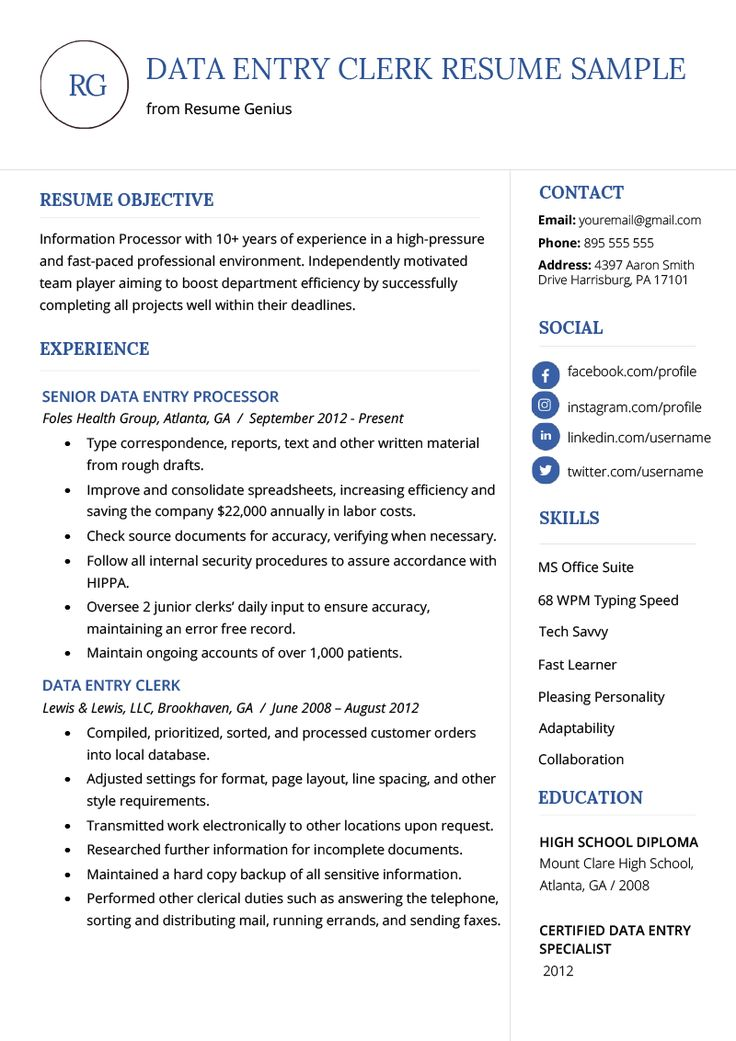 Data Entry Clerk Resume Example Template RG Resume