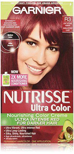 Garnier Nutrisse Ultra Color Nourishing Color Creme, R3 Light Intense Auburn  //Price: $ & FREE Shipping //     #hair #curles #style #haircare #shampoo #makeup #elixir