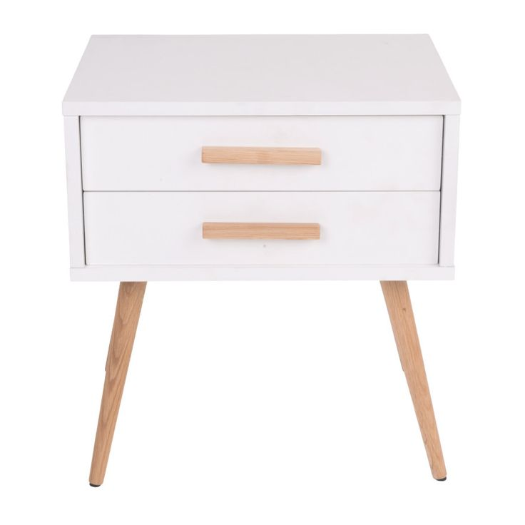 $109 Deals Direct - Hyatt Side Table with Drawers - 18mm MDF Wood with Matte Gloss Finish & American White Oak Wood Legs - Scandinavian Style Furniture for Home or Office - White