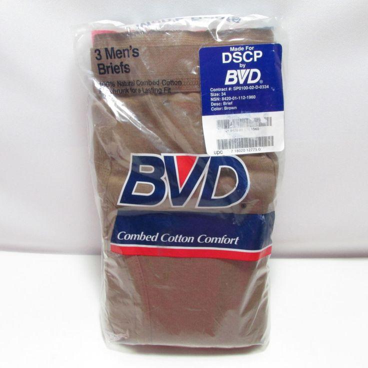 Vintage Mens BVD Briefs Underwear Brown Size 34 3 Pair 1992 New In Package #BVD #Brief