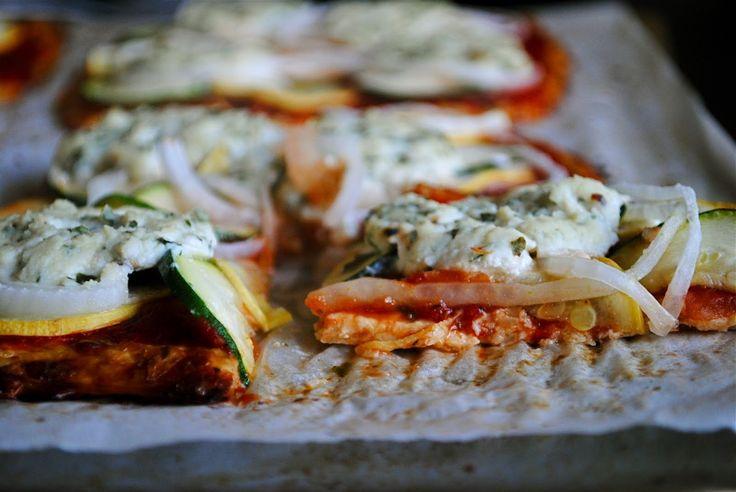 Basil Cauliflower Pizza - Cauliflower pizza base with ricotta and basil topping