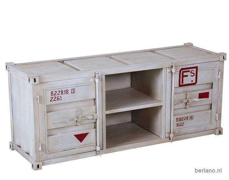 Container Retro Meubels/Kasten; Dressoirs, grijze container Tv-kasten ook in blauw, wit, grijs en groen. De metalen zeecontainer zijn verkrijgbaar in verschillende meubels wandkasten. Industriële metalen kasten Webshop Berlano.nl