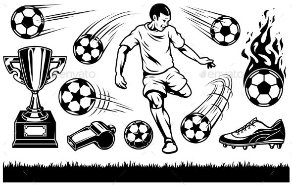 Set Of Soccer Elements And Players Chivas