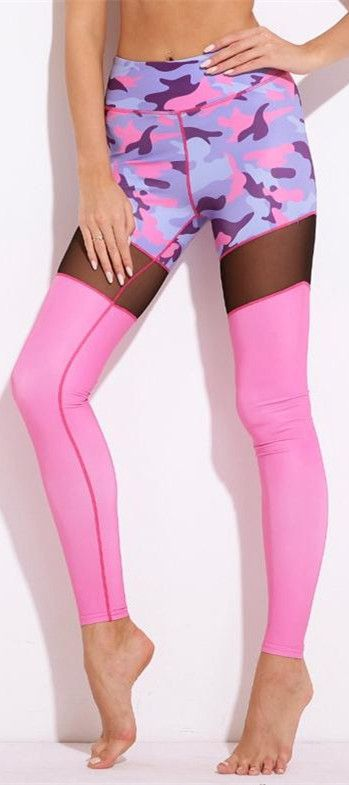 Hot Pink Camouflage Mesh Patch Yoga Leggings